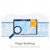 Page ranking on laptop banner.  Browser window with star favorite sign.