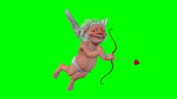 Cupid del fumetto su priorità bassa verde