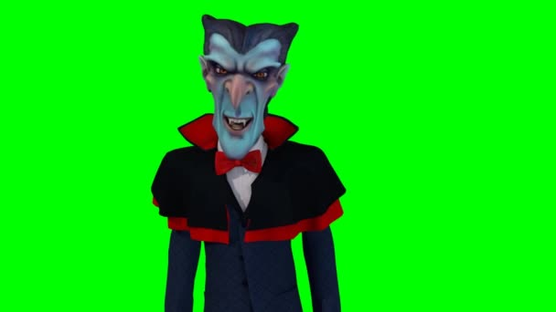 Cartoon Drakula on green background
