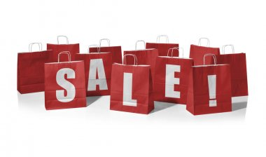 Red shopping bags forming the word Sale!
