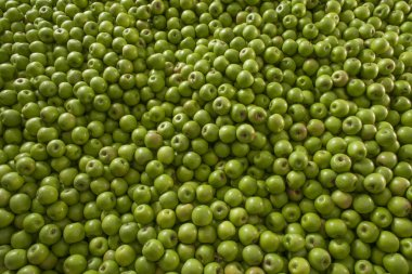 Green and juicy granny smith apple pile at the local farmers mar