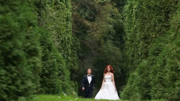 Happy zrzka kudrnaté nevěsta a ženich jdou lesem