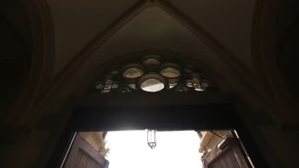 Gothic style interior with arcs and decoration in Catholic cathedral