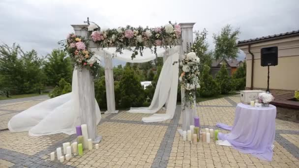 Wedding arch decoration wedding arch decorated stock video wedding arch decorated with flowers before the wedding ceremony in the sky background junglespirit Gallery