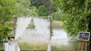 Wedding Arch Decoration Of Fresh Flowers Stock Video