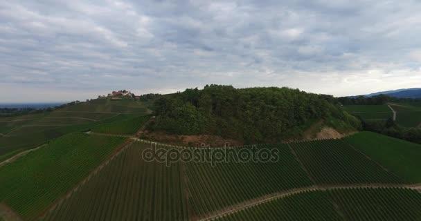 Antenna tájkép az érési szőlő dombok alatt tiszta, kék ég