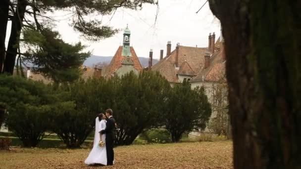 Sposa e sposo a piedi al parco e che baciano vicino bellissimo castello antico