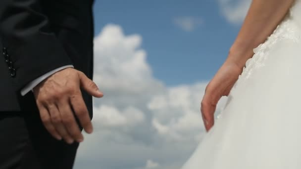 Newly married wedding couple holding hands on sky background. The groom takes the bride by the hand