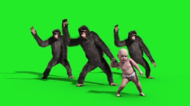 Skupina šimpanz Baby House Dance tanečnice zelené obrazovky 3d vykreslování animace zvířat