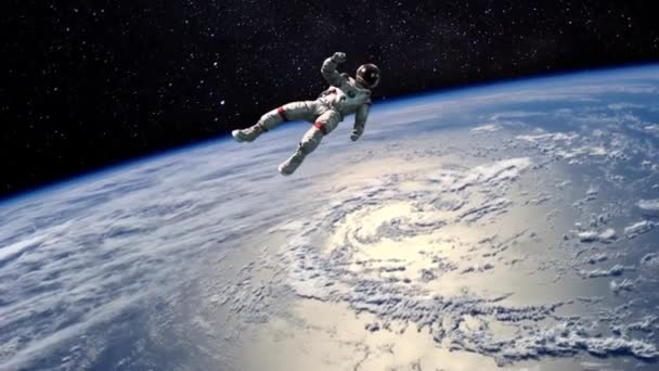 Astronaut Fly Space Earth Animated Background 3D Rendering Animation