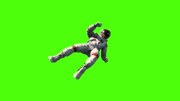 Astronauten fliegen Flip Raum Erde grünen Bildschirm 3d Rendering Animation