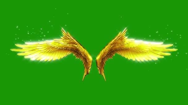 Mávání zlatá křídla částice smyčka 3d rendrování animací
