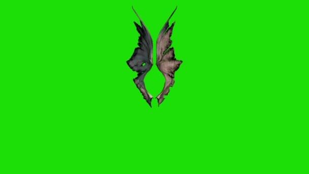 Démon Devil křídla zelená obrazovka 3d rendrování animací