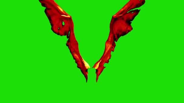 Devil Red Demon křídla rychle fabion přední 3d rendrování animace