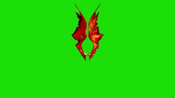 Devil Red Demon křídla zelená obrazovka 3d rendrování animací