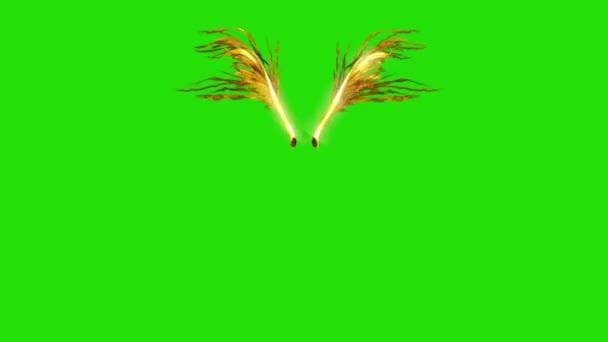 Pleskal zlato opeřeného křídla přední zelené obrazovky 3d vykreslování animací