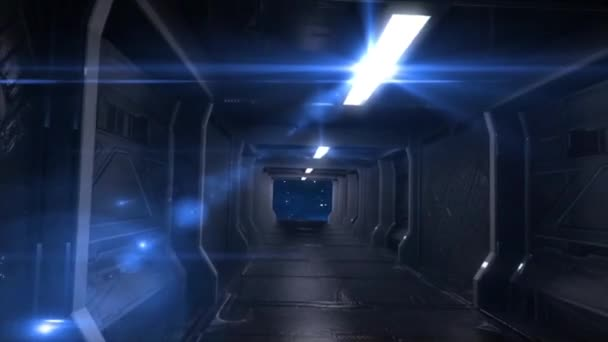 Corridor Alien Spacecraft Space Stars Lights Animated Background 3D Rendering Animation