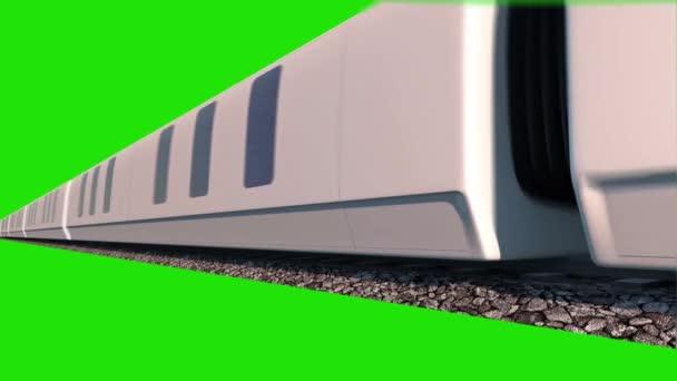 Vlak Maglev rychlostí dolů 3d vykreslování zelená obrazovka