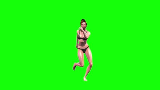 Dívka ve spodním prádle tance Green Screen přední bez stínu 3d rendrování animací