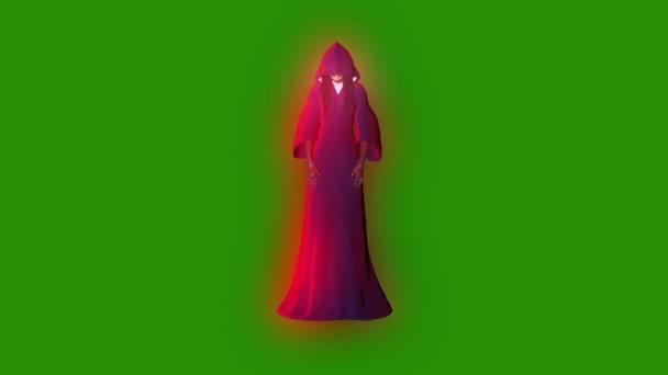Szellem fantom személy Witch támadás első zöld képernyő 3d Rendering animáció