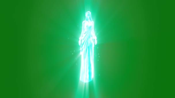 Duch bohyně božské zjevení zelené obrazovky 3d vykreslování animací