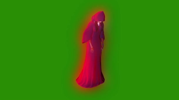 Szellem fantom személy Witch támadás zöld képernyő 3d megjelenítő animáció