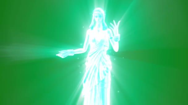 Duch bohyně božské zjevení mluví zelené obrazovky 3d vykreslování animací