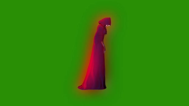 Ghost fantom entitás boszorkány támadás oldalán zöld képernyő 3d megjelenítő animáció
