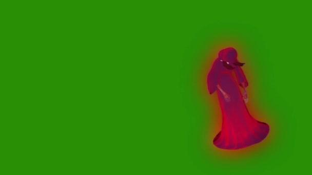 Szellem fantom személy Witch legyek Halloween zöld képernyő 3d megjelenítő animáció
