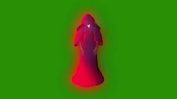 Ghost fantom személy Witch repülés ciklusban első zöld képernyő 3d Rendering animáció