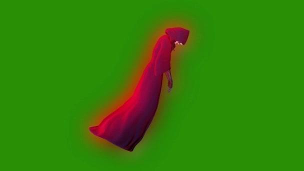 Ghost fantom személy Witch repülés ciklus oldalán zöld képernyő 3d Rendering animáció