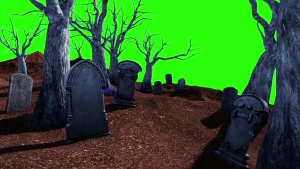 Halloween hřbitov živé stromy Tombstone zelené obrazovky 3d vykreslování animace