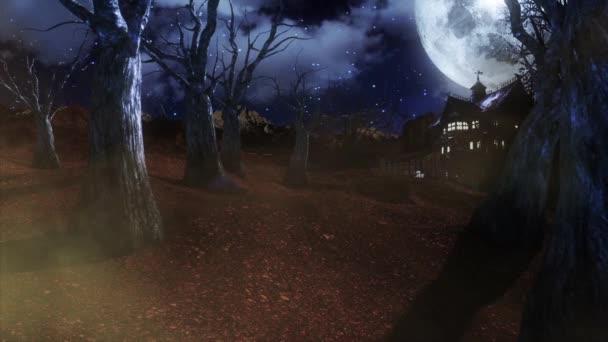 Cementerio Halloween Vida Árboles Fondo Animado