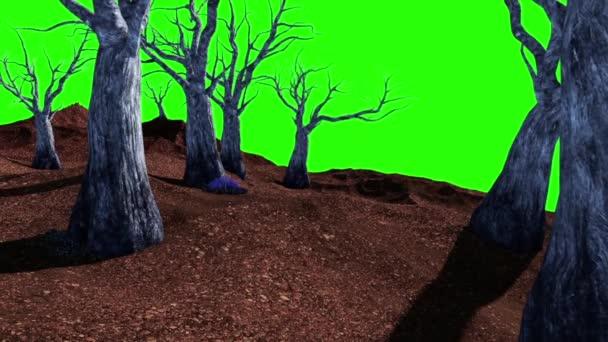 Halloween hřbitov živé stromy zelené obrazovky 3d vykreslování animací