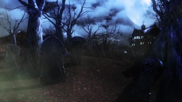 Halloween hřbitov živých stromů pršet animované pozadí 3d vykreslování
