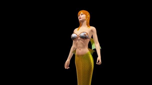 Meerjungfrau Zauberin Ozean Sea Alpha Matte schließen 3d Rendering Animationen 4
