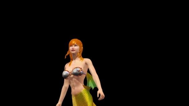 Meerjungfrau Zauberin Ozean Sea Alpha Matte aussehen 3d Rendering Animationen