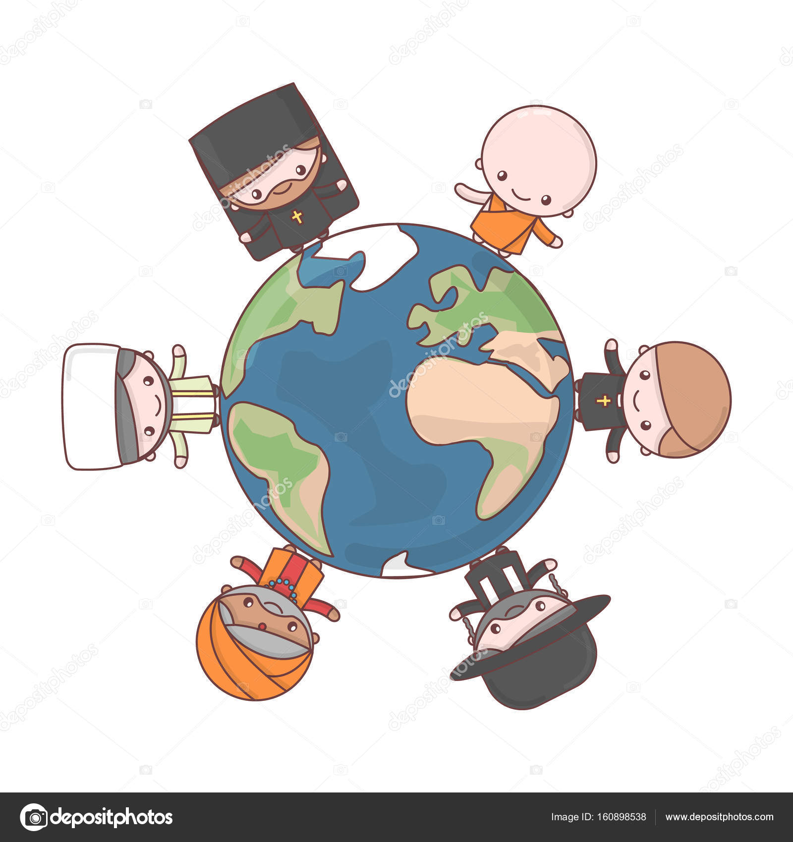 Cute Chibi Kawaii Characters People Of Different Religions Jud Stock Vector