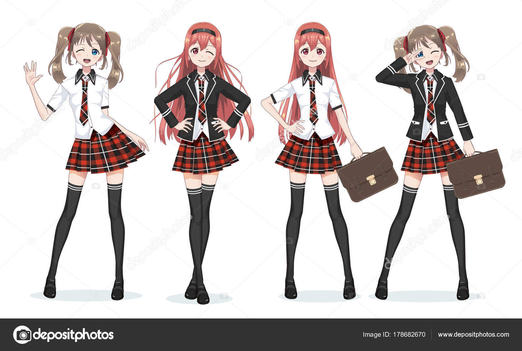Schöne Anime Manga Schulmädchen in Rock — Stockvektor © Apoev #178682670