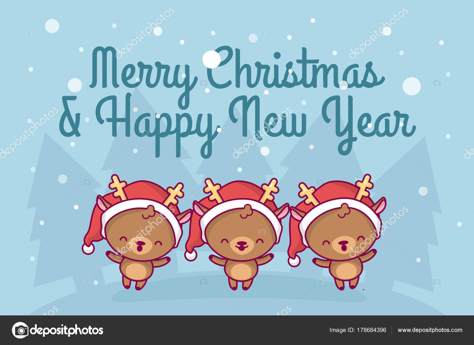 Lovely cute kawaii chibi. a group of deer sing a song under a snowfall. Merry christmas and a ...