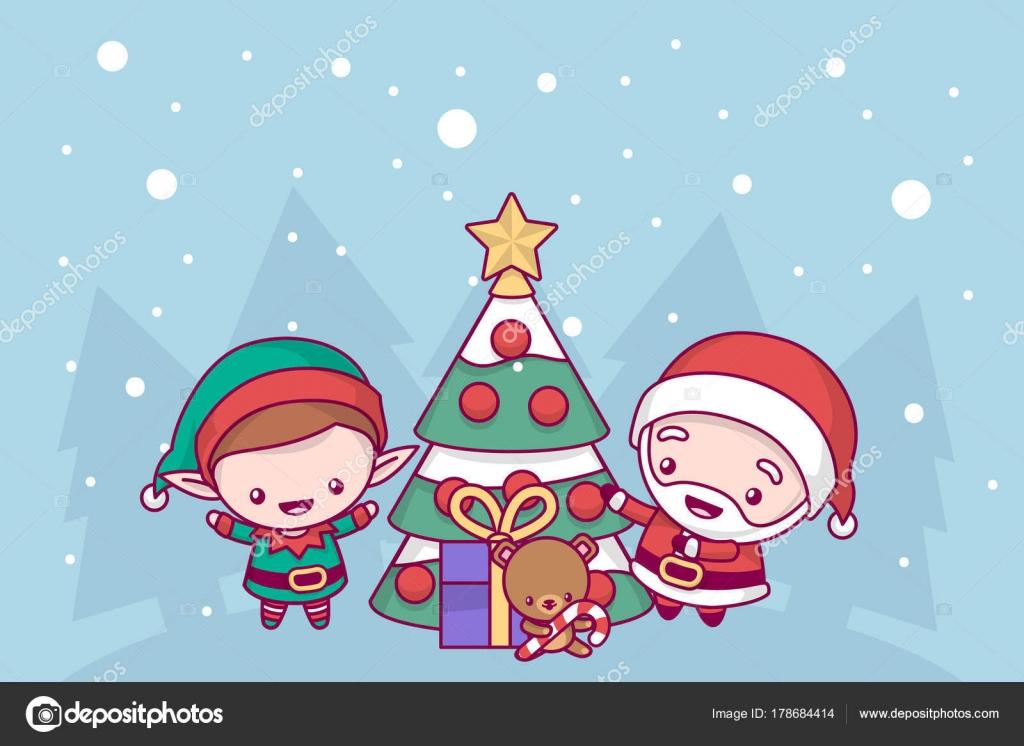 Precioso Lindo Kawaii Chibi Santa Claus Y Los Elfos Decoran El