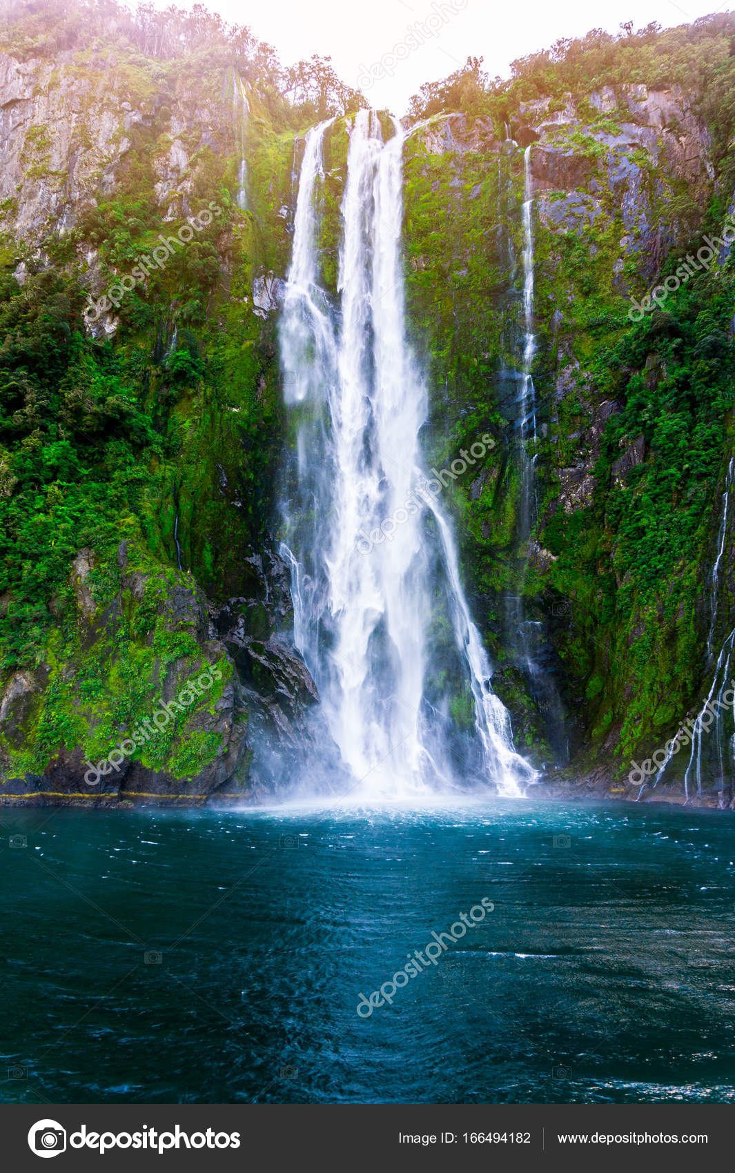 Stirling Falls At Milford Sound In New Zealand Stock Photo