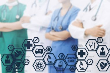 Doctors with Medical Healthcare Icon Interface