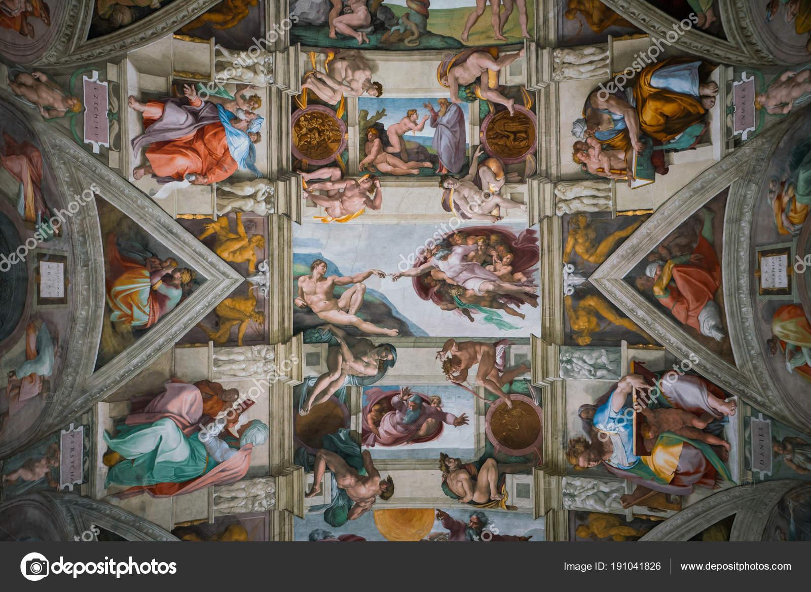 Plafond De La Chapelle Sixtine Au Vatican Photo Editoriale
