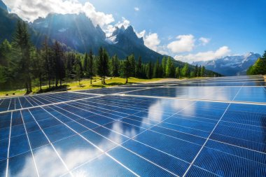 Solar cell panel in country mountain landscape.