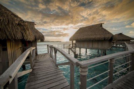 Sunset in a Luxury bungalow in Bora Bora