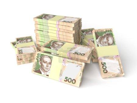 Photo pour Grande pile d'argent hryvnia isolé sur fond blanc. Concept d'entreprise. Rendu 3d - image libre de droit