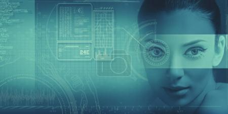 Photo for Abstract science and technology background with female face and graphs - Royalty Free Image