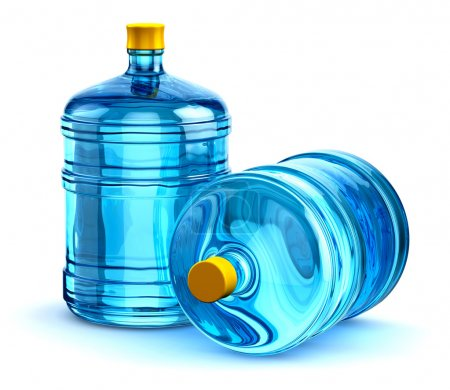 Two 19 liter or 5 gallon plastic drink water bottles