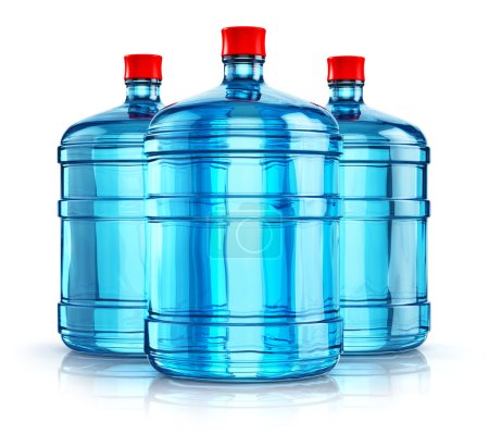 Three 19 liter or 5 gallon plastic drink water bottles
